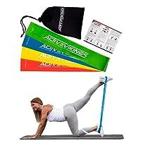 ActiveVikings Women's Set 4-Stärken by Ideal für Muskelaufbau Physiotherapie Pilates Yoga Gymnastik und Crossfit   Fitnessband Gymnastikband Widerstandsbänder, Länge: 30cm Breite: 5cm