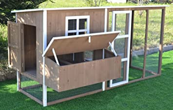 Omitree Large 87u0026quot; Wood Chicken Coop Backyard Hen House 4 8 Chickens  Nesting Box