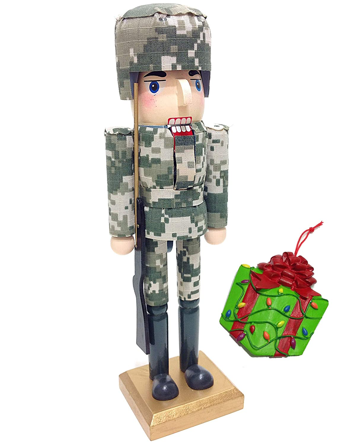 Military Armed Forces Army Soldier Themed Decorative Holiday Season Wooden Christmas Nutcracker & Bonus Tree Ornament Distinctive Designs