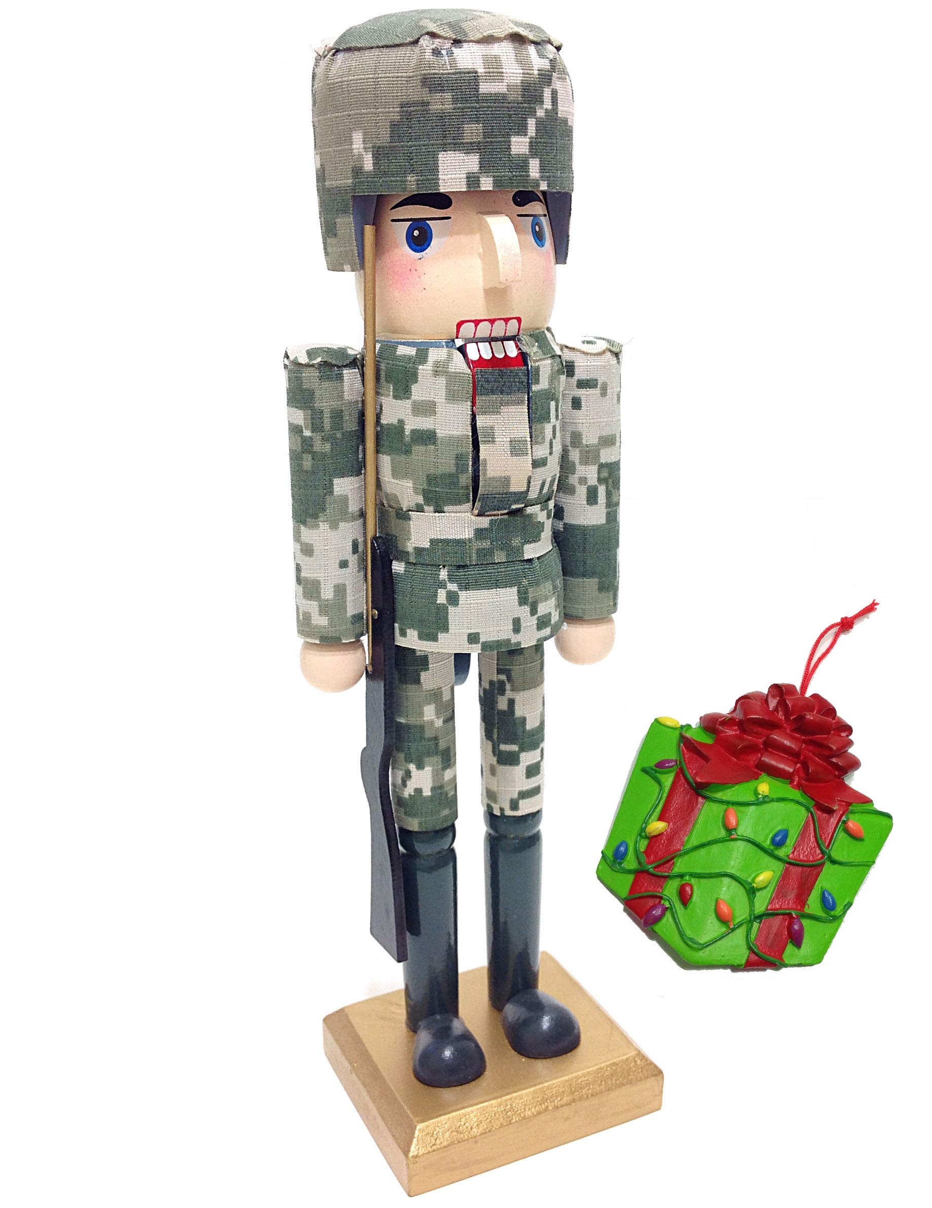 Military Armed Forces Army Soldier Themed Decorative Holiday Season Wooden Christmas Nutcracker & Bonus Tree Ornament