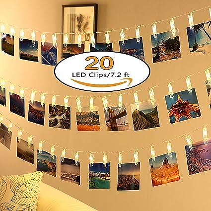 Amazon.com : Neretva 20 LEDs Photo Clips String Lights, Christmas ...