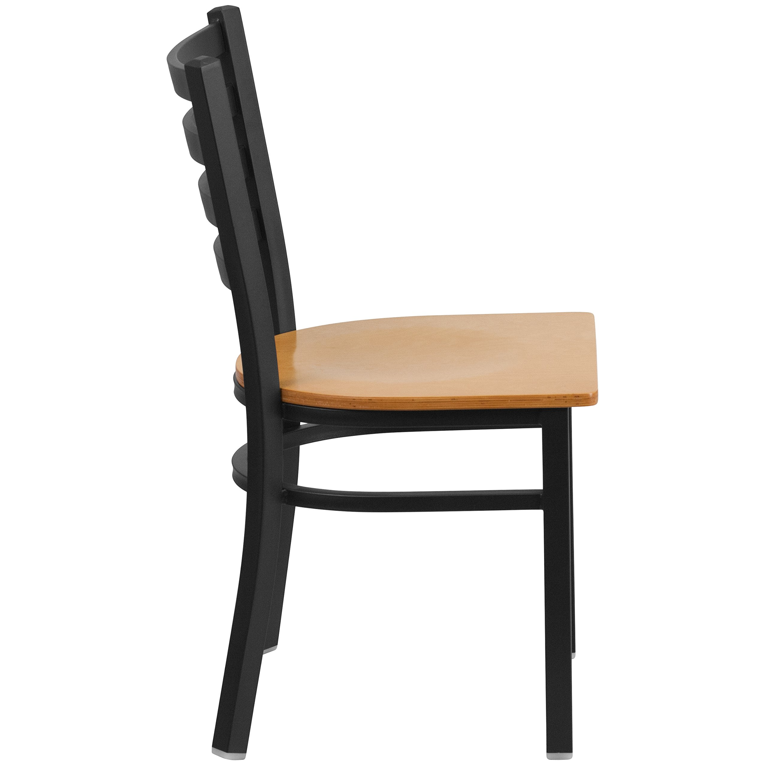 Flash Furniture HERCULES Series Black Ladder Back Metal Restaurant Chair - Natural Wood Seat by Flash Furniture (Image #2)