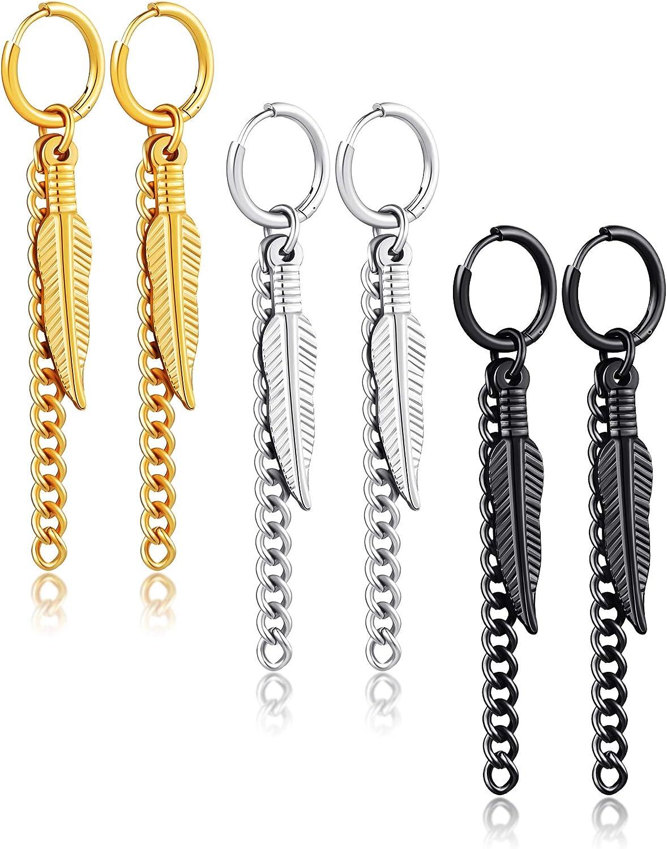 3 Pairs Stainless Steel Dangle Hinged Earrings Feather Hinged Hoop Earrings