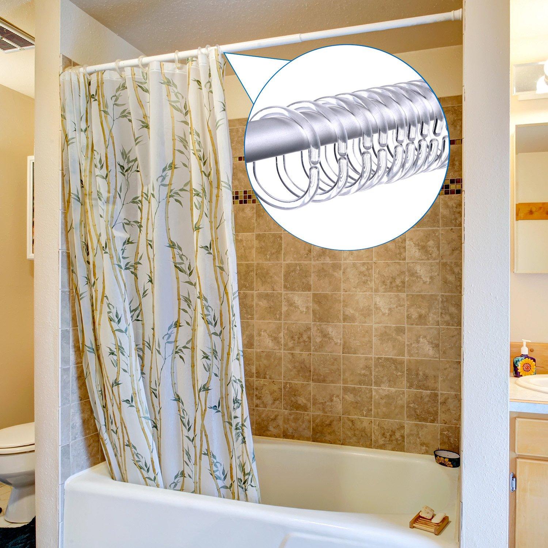 White 36 Pack Shower Curtain Rings Curtain C Rings Hook Hanger Bath Drape Loop Clip Glide