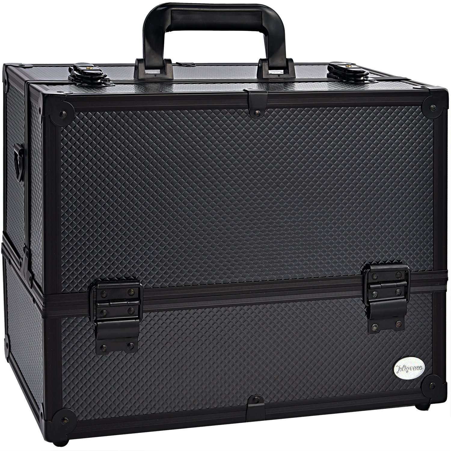 Joligrace 6 Trays Makeup Train Case Cosmetic Box with Lock & Compartments 14 Inch Large Black