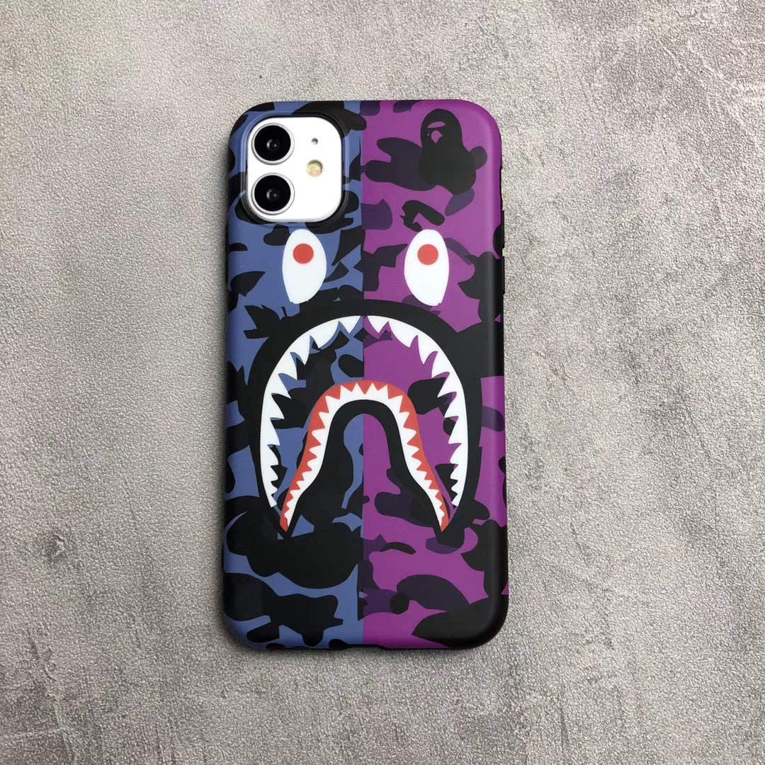 TPU Fashion Camouflage Shark Mouth Phone Case for iPhone 11/iPhone11Pro/ iPhone 11Promax (Blue Purple, iPhone 11)
