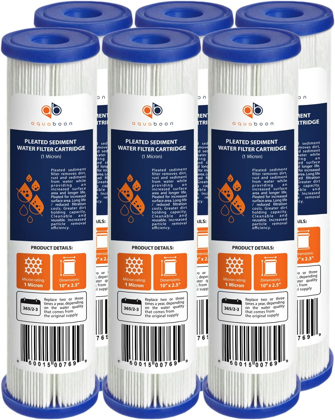 Aquaboon 1 Micron 6-Pack 10 x 2.5 Pleated Sediment Filter