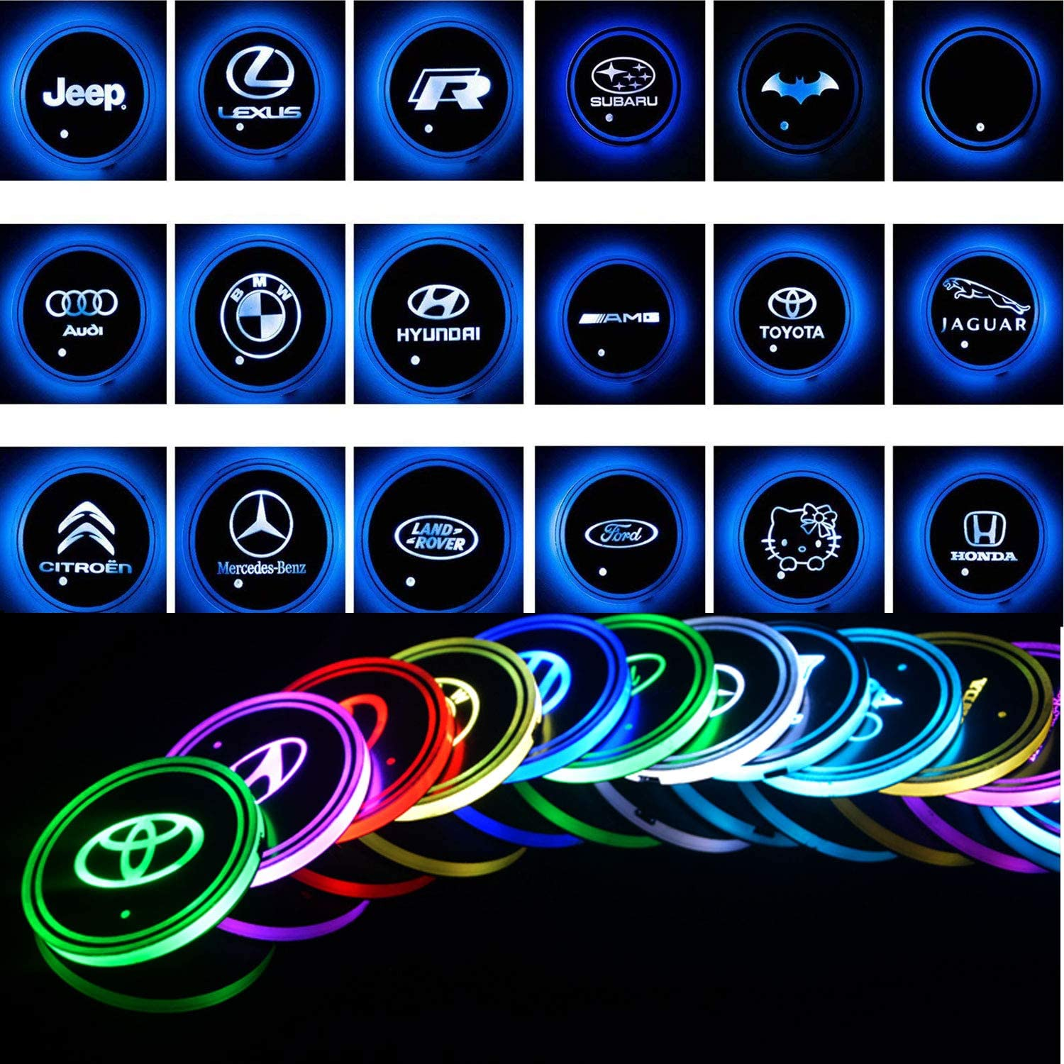 for Acura ATlife LED Car Logo Cup Holder Pad Waterproof Bottle Drinks Coaster Built-in Light 7 Colors Changing USB Charging Mat Auto LED Cup Mat Car Atmosphere Lamp 2PCS