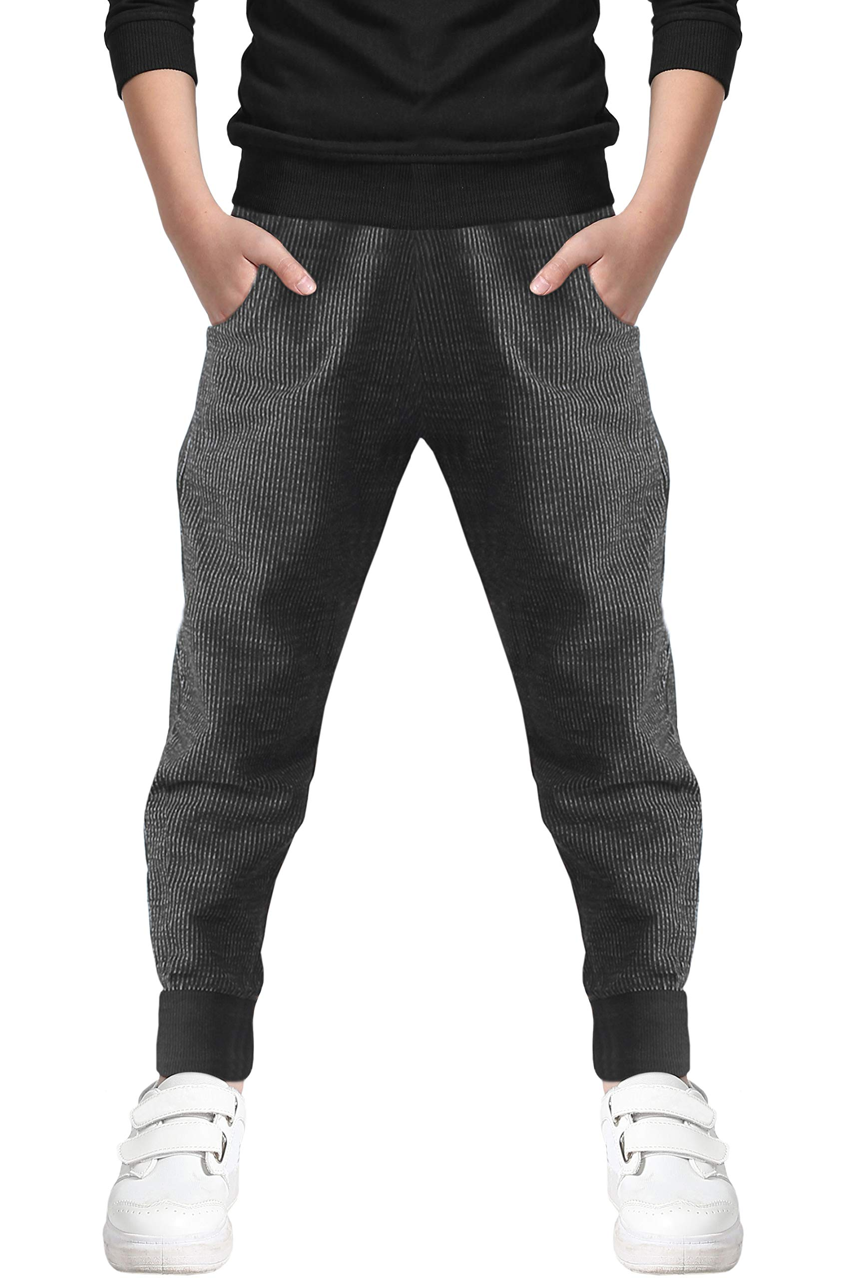 Boy's Pull On Jogger Active Sports Sweat Pants with Pockets, Black, Size 11-12 Years = Tag 160