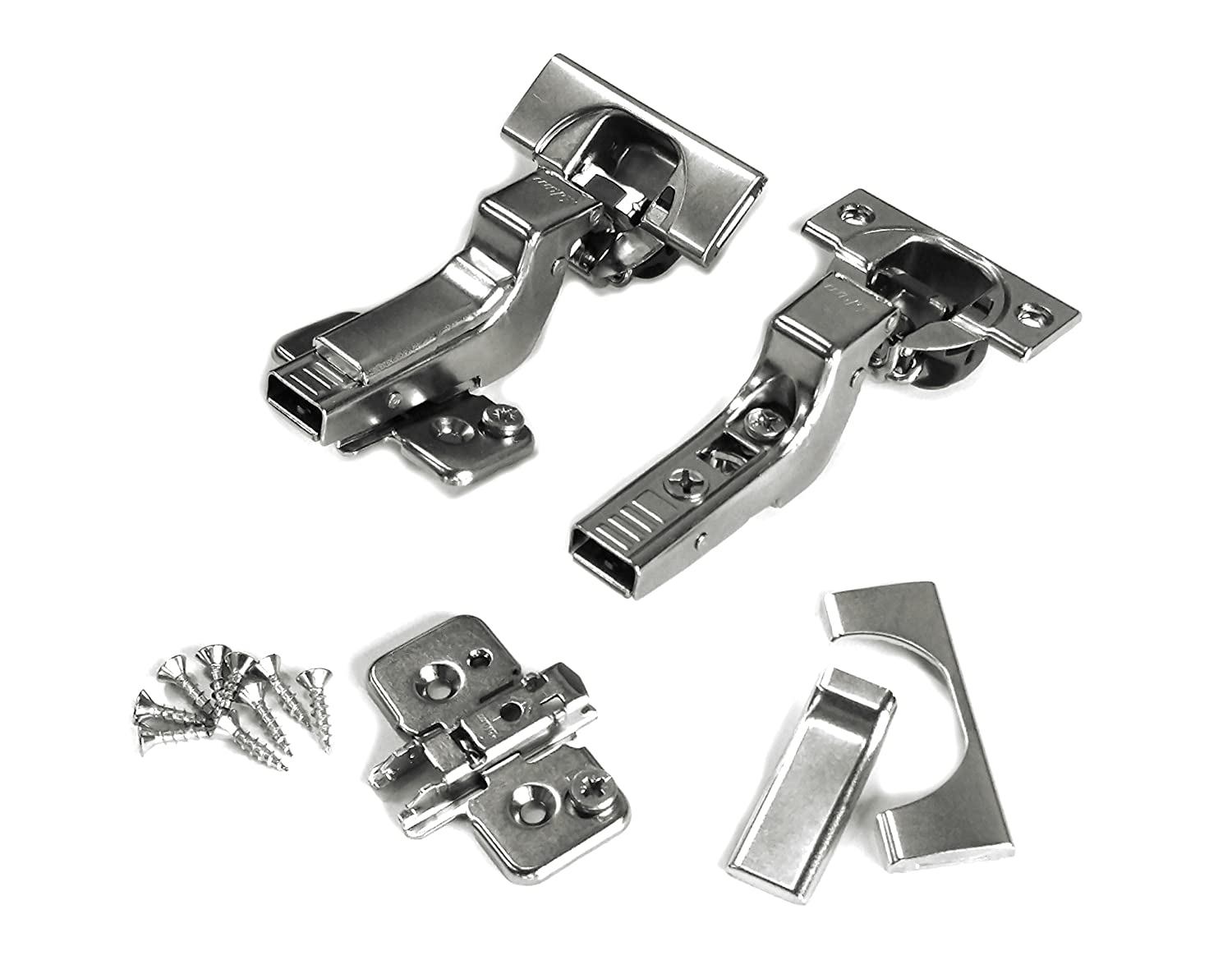 Blum CLIP top BLUMOTION Soft Close Hinges, 110 degree, Self Closing, Frameless, with Mounting Plates and hinge cover plates (Inset - 8 Pack (4 pair))