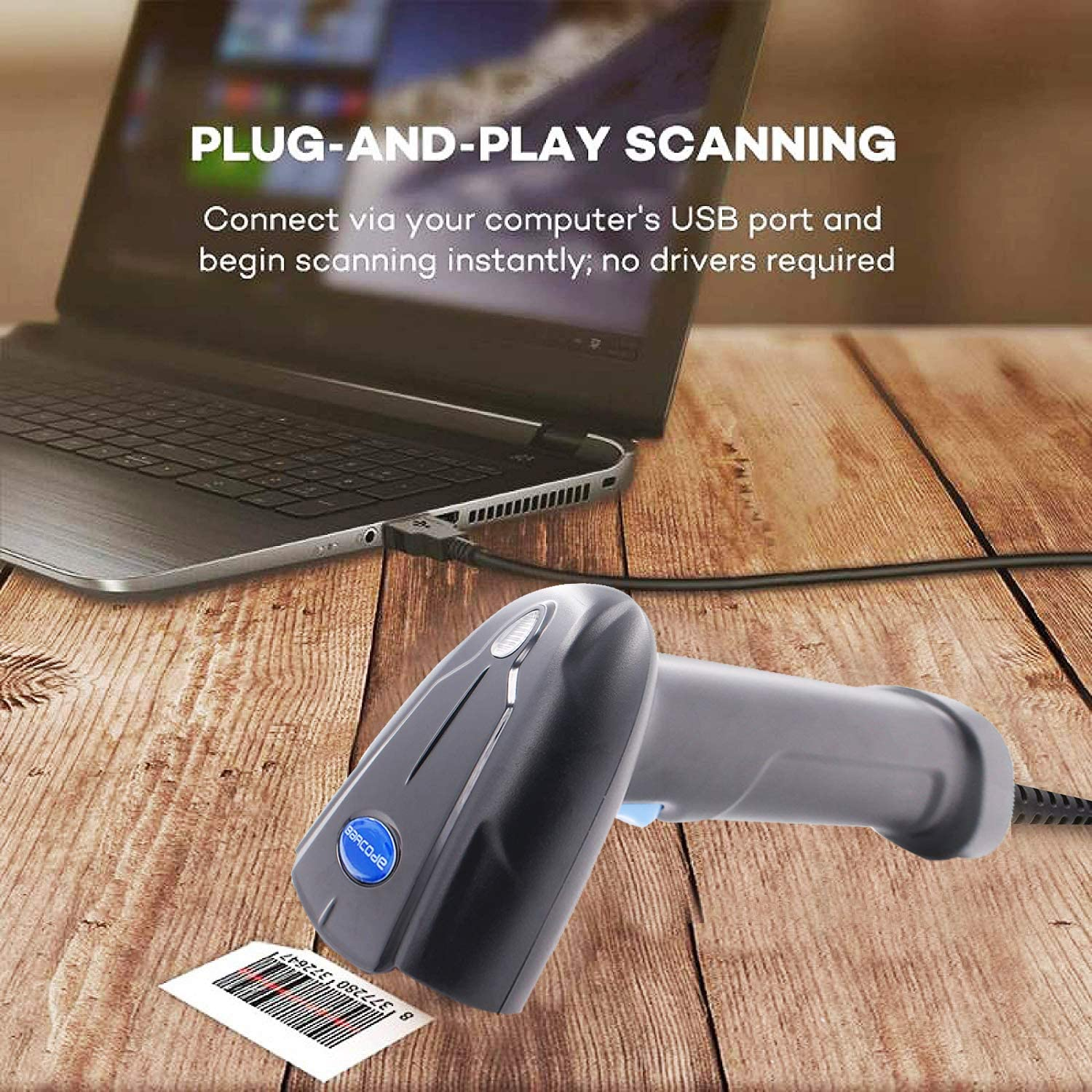 Hezbjiti Barcode Scanner Handheld Automatic Imaging USB Wired 1D 2D bar Codes Imager with USB Cable for Mobile Payment Computer Screen Scan Support Mac OS Barcode