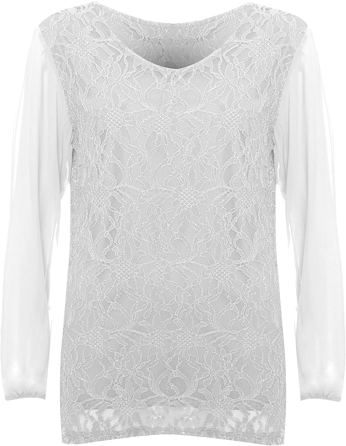 WearAll Womens Plus Size Lace Lined Sheer Long Sleeve Ladies Chiffon Tunic Party Top Sizes 14-28
