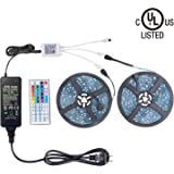 WenTop Led Light Strip Kit with DC12V UL Listed Power Supply SMD 5050 32.8 Ft (10M) 300leds RGB 30leds/m and 44 key Ir Controller Kitchen Bedroom Sitting Room, TV Backlighting, Bedroom, Bed and More
