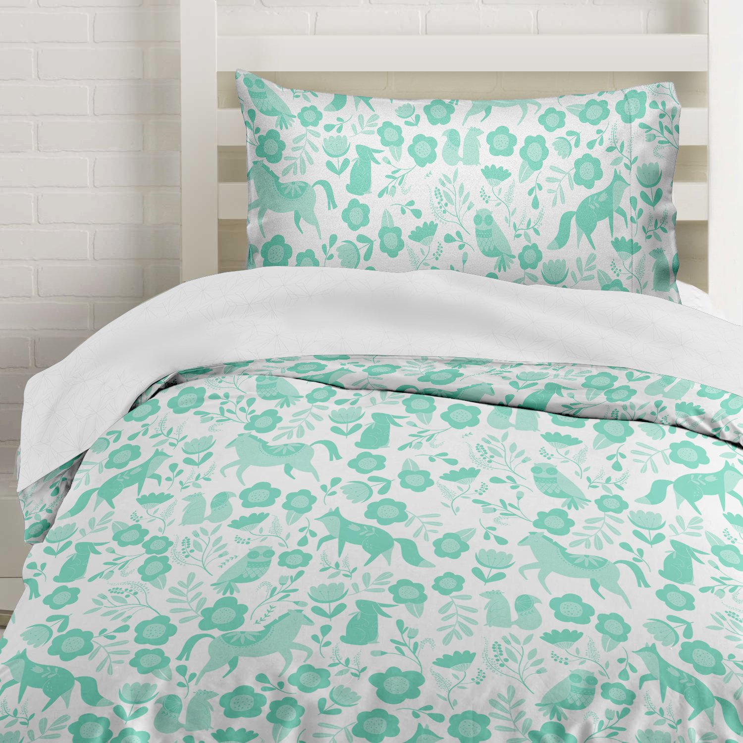 Seafoam Green Folktale Forest Animals Duvet Cover Twin Size Bedding, White and Teal Woodland Creatures