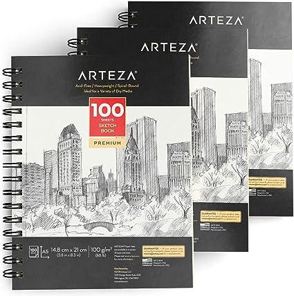 Arteza Blocs de dibujo artístico | Tamaño A5 | Pack de 3 | 100 hojas x