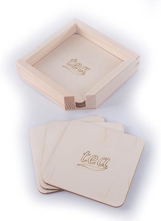 6 posavasos de madera TEA con caja/sin pintar/manualidades ...