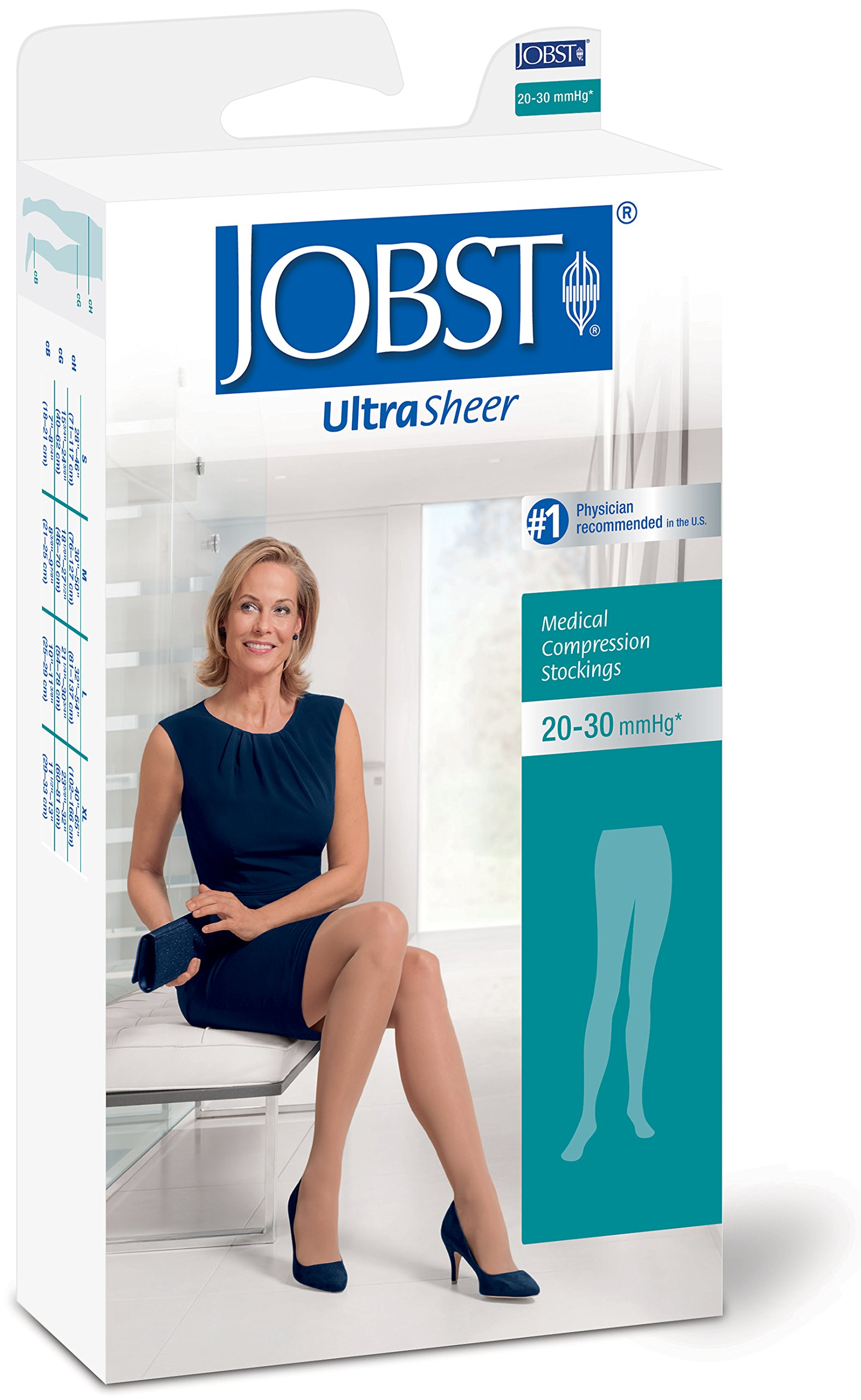 Jobst Ultrasheer 20-30 Waist High Closed Toe Compression Maternity Pantyhose Natural X-Large