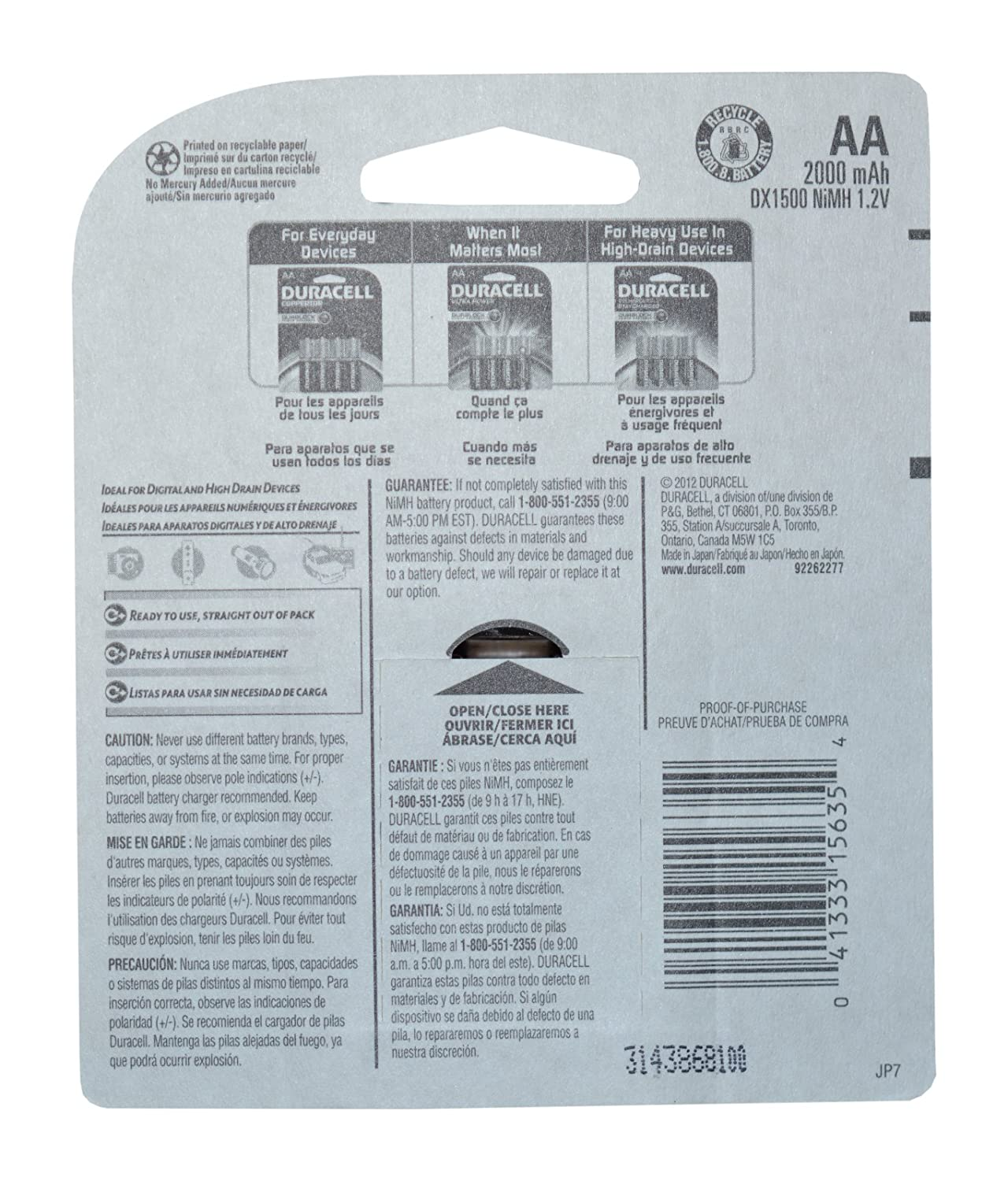 Amazoncom Duracell Rechargeable Long Life AA Batteries In A - Us zip code aa