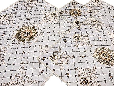 Ivory Designer Hand Beaded Table Top Linens Set   Fine Zardozi Embroidered  Luxury Tablecloths, Runner