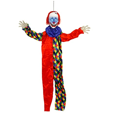 Halloween Haunters 5 Foot Animated Hanging Scary Circus Clown With Moving Led Bloodshot Eyes Prop Decoration Smiling Zombie Ghoul Face That Chimes