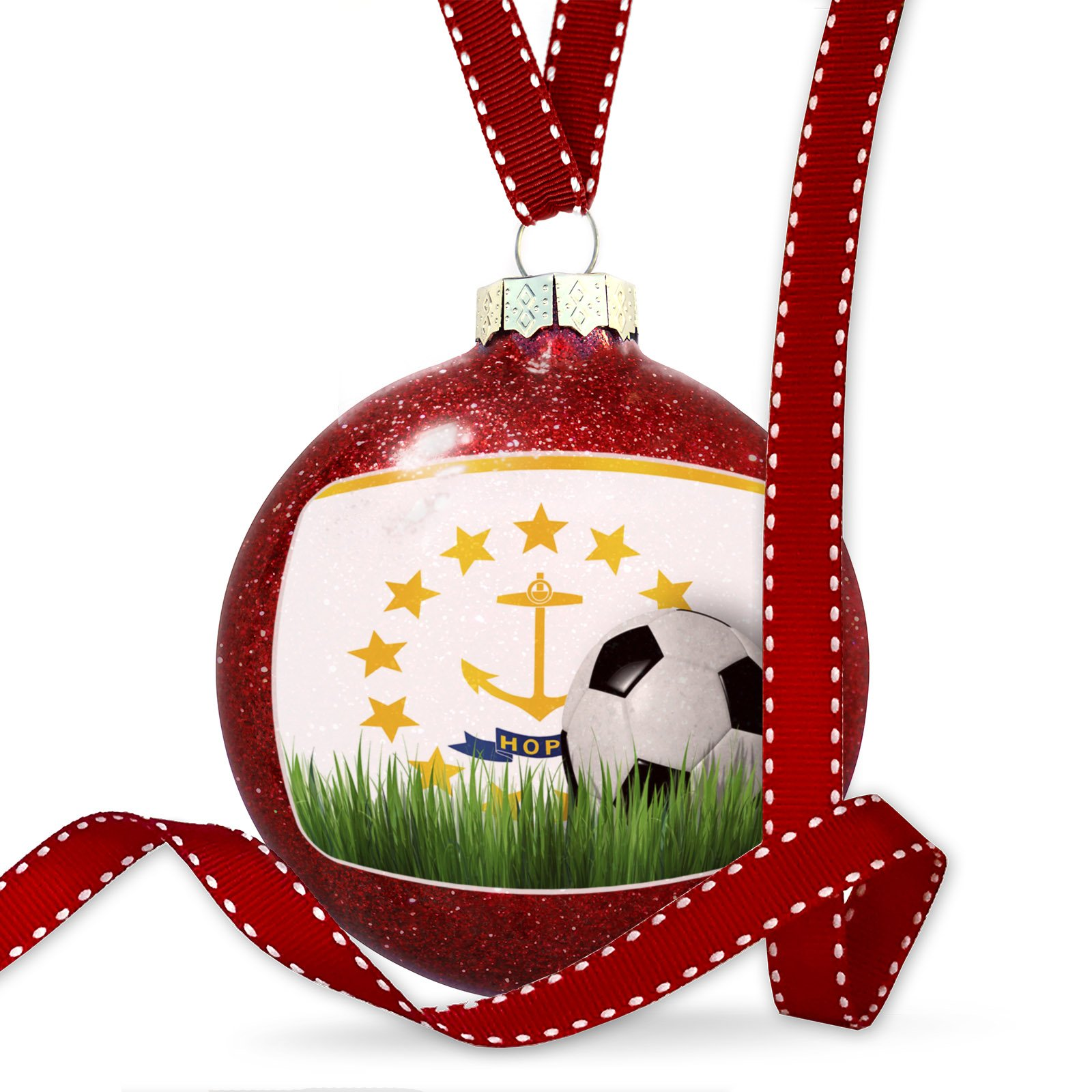Christmas Decoration Soccer Team Flag Rhode Island region America (USA) Ornament
