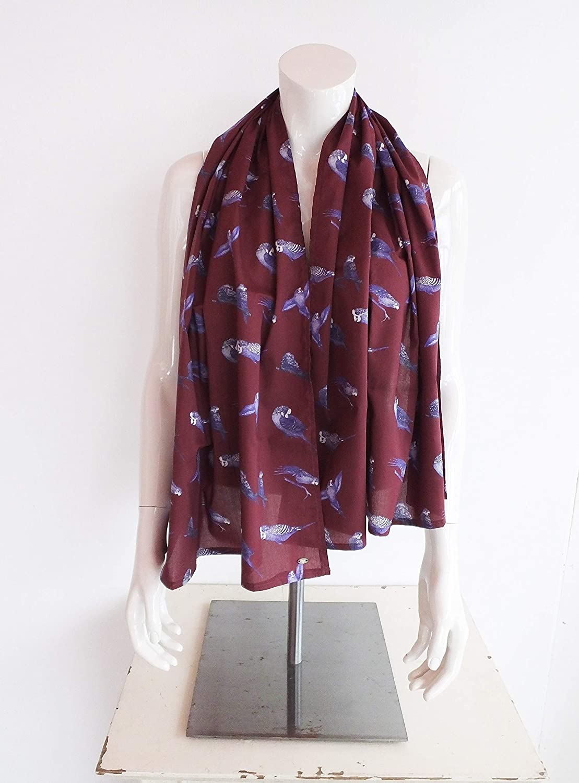 Wine Purple Budgie Bird Parakeet Scarf | 100% Cotton | Handmade UK | Great birthday, Christmas, mothers day gift, winter warmth, Jenny K Home