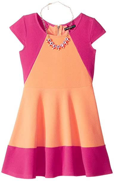 Amazon.com  My Michelle Girls  Big Color Block Skater Dress with ... a780600ae