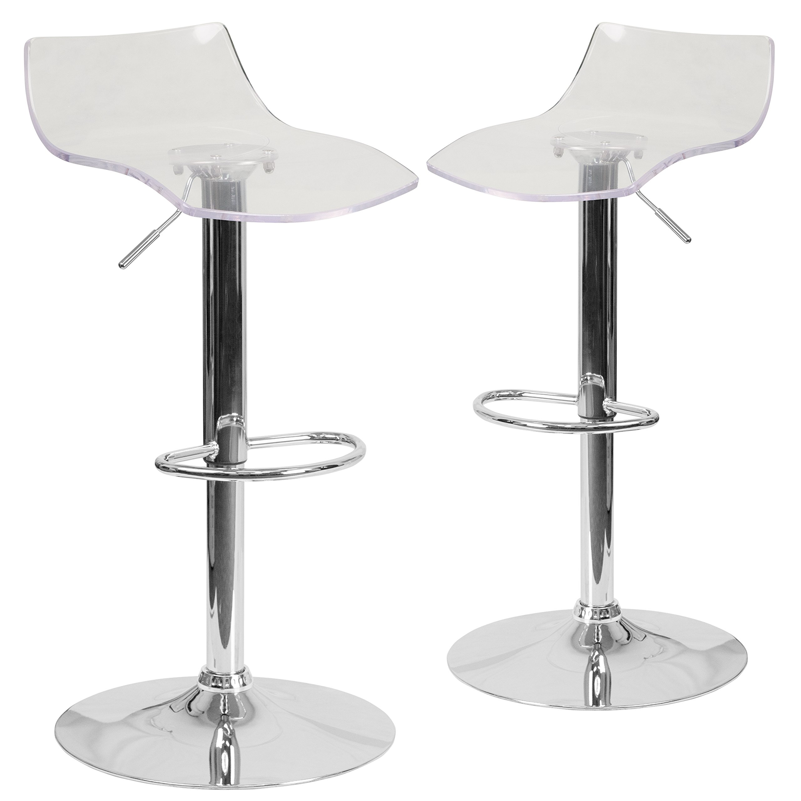 Flash Furniture 2 Pk. Contemporary Transparent Acrylic Adjustable Height Barstool with Chrome Base