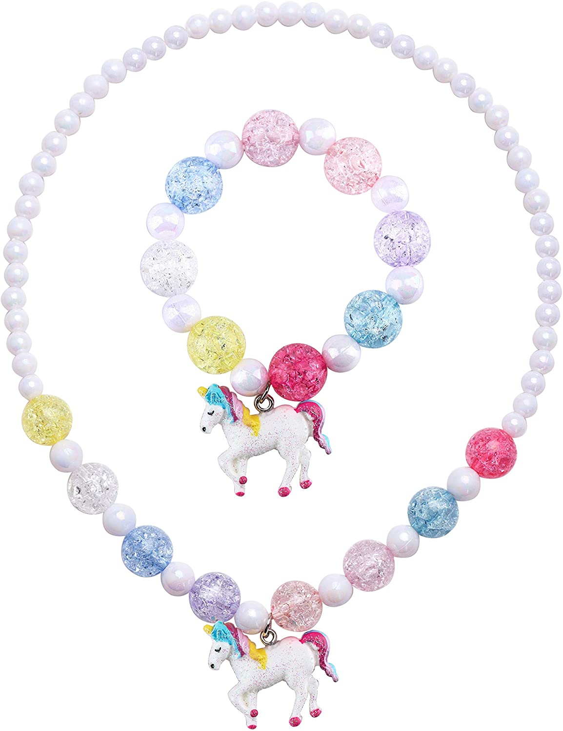 SkyWiseWin Chunky Jewelry Unicorn Necklace and Bracelet Set for Girls Little Kids: Jewelry