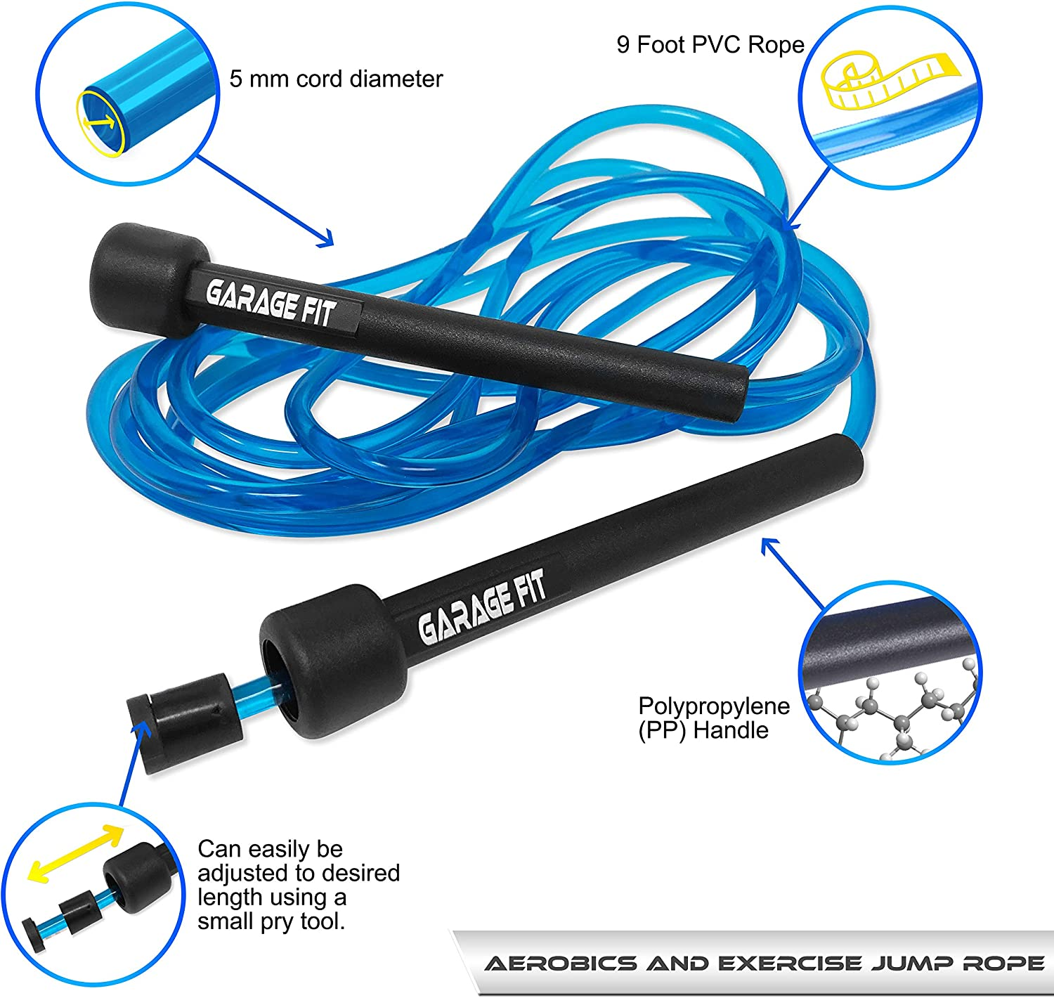AMPRO ADJUSTABLE WEIGHTED HANDLE SKIPPING ROPE