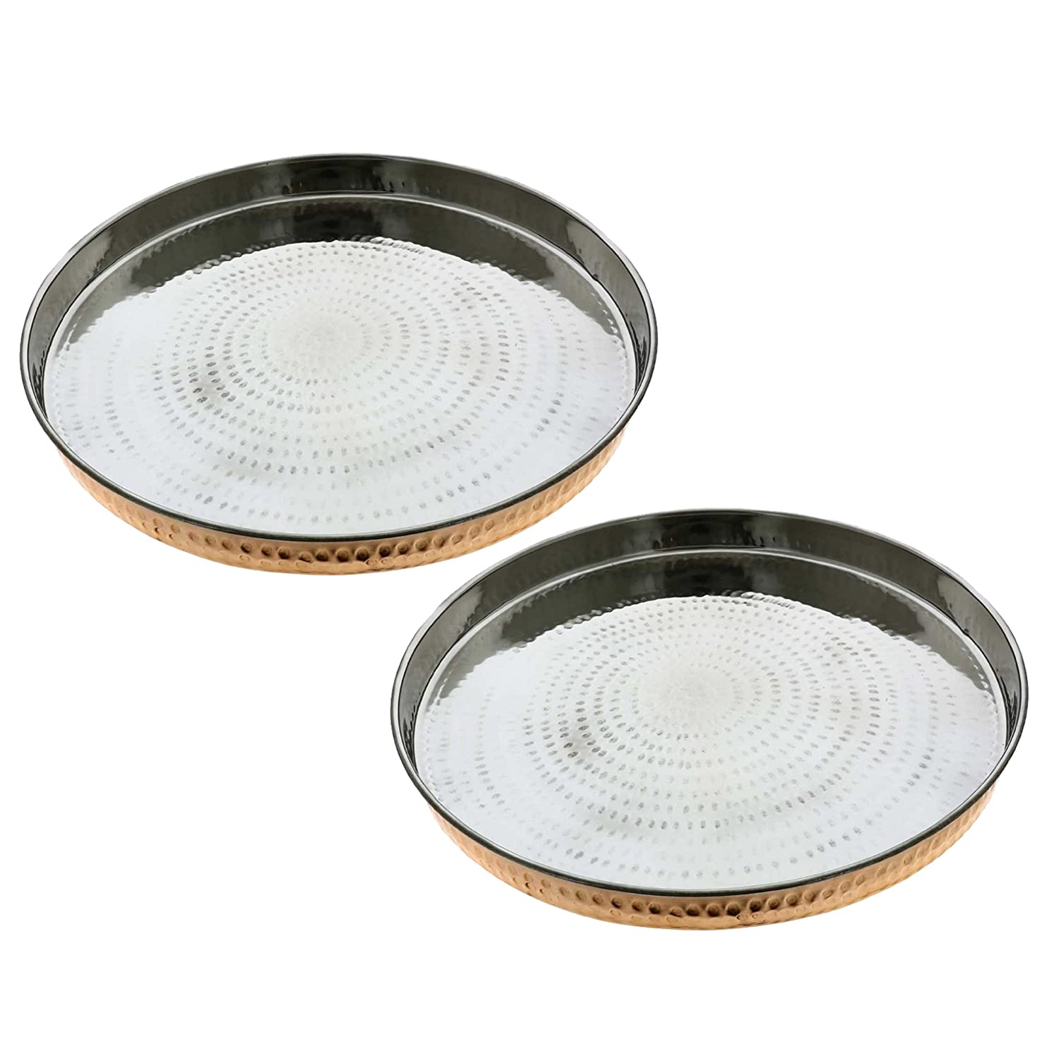 SKAVIJ 12-inch Round Charger Plates, Set of 2, Dinnerware Service Plate Dinner Chargers, Heavy Copper and Stainless Steel M-TT1