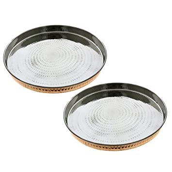 RoyaltyLane Set of 2, Indian Dinnerware Copper Stainless Steel Large Dinner Plate Thali, Diameter 12 Inches. Dinnerware Sets at amazon