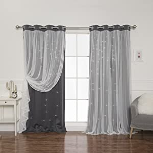 Best Home Fashion Tulle Overlay Star Cut Out Blackout Curtains - Stainless Steel Grommet Top - Dark Grey - 52