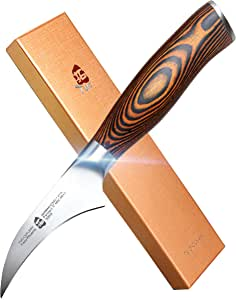TUO Bird-Beak Peeling Knife, Handy Paring Knife, German X50CrMoV15 Stainless Steel, Full Tang Eye-catching Ergonomic Pakkawood Handle, Razor Sharp Stain Rust Resistant, Fiery Series, 2.5 inch