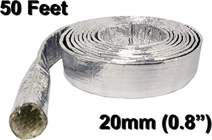 Cables 5 Feet Exhaust Silver Wire Harnesses Automotive Electriduct 9mm // 0.35 Thermal Sleeve Heat Shield Fiberglass Aluminum Foil Corrugated Conduit High Temperature Protection for Hoses