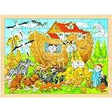 Goki - 2041647 - Puzzle En Bois À Encastrement - Entrée En Arche De Noé - 96 Pièces