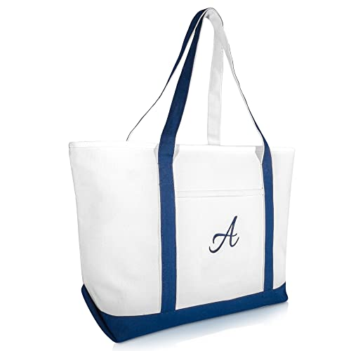 ee81e6171b Amazon.com: DALIX Quality Canvas Tote Bags Large Beach Bags Navy Blue  Monogrammed A: Shoes