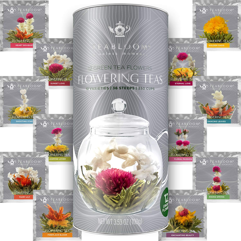 Teabloom Flowering Tea - 12 Unique Varieties of Fresh Blooming Tea Flowers - Hand-Tied Natural Green Tea Leaves & Edible Flowers - 12-Pack Gift Canister - 36 Steeps, Makes 250 Cups