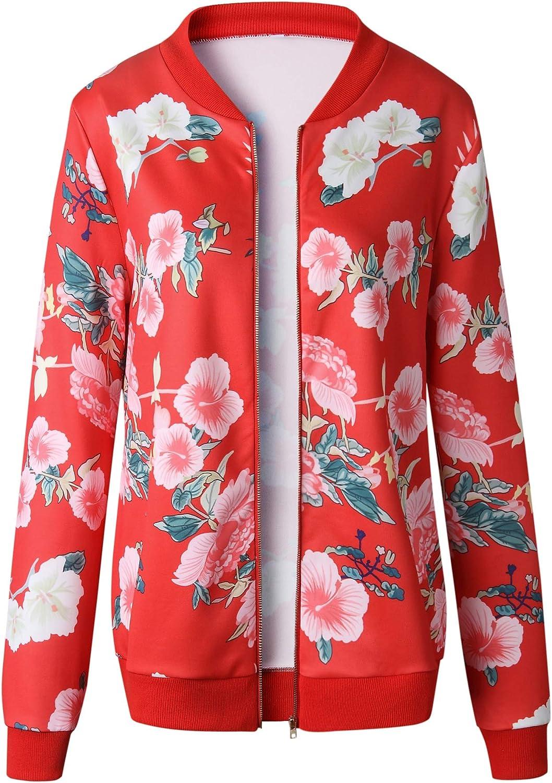 Giacca Bomber Donna Moda Vintage Stampa Fiore Outwear Manica Lunga Outdoor Collo Coreana Casual con Cerniera Giacca Pilot Casuale Donne Cappotto Primaverile Autunno