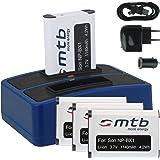 4x Batteria + Caricabatteria doppio (USB/Auto/Corrente) per Sony NP-BX1 / Sony Action Cam HDR-AS10, AS15, AS20, AS30(V), AS100V, AS200V / FDR-X1000V... v. lista