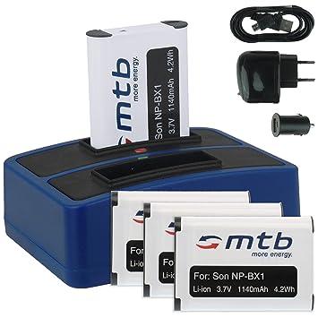 4x Baterías + Cargador doble (USB/Coche/Corriente) para Sony NP-BX1 / Sony Action Cam HDR-AS10, AS15, AS20, AS30(V), AS100V, AS200V / FDR-X1000V... v. ...