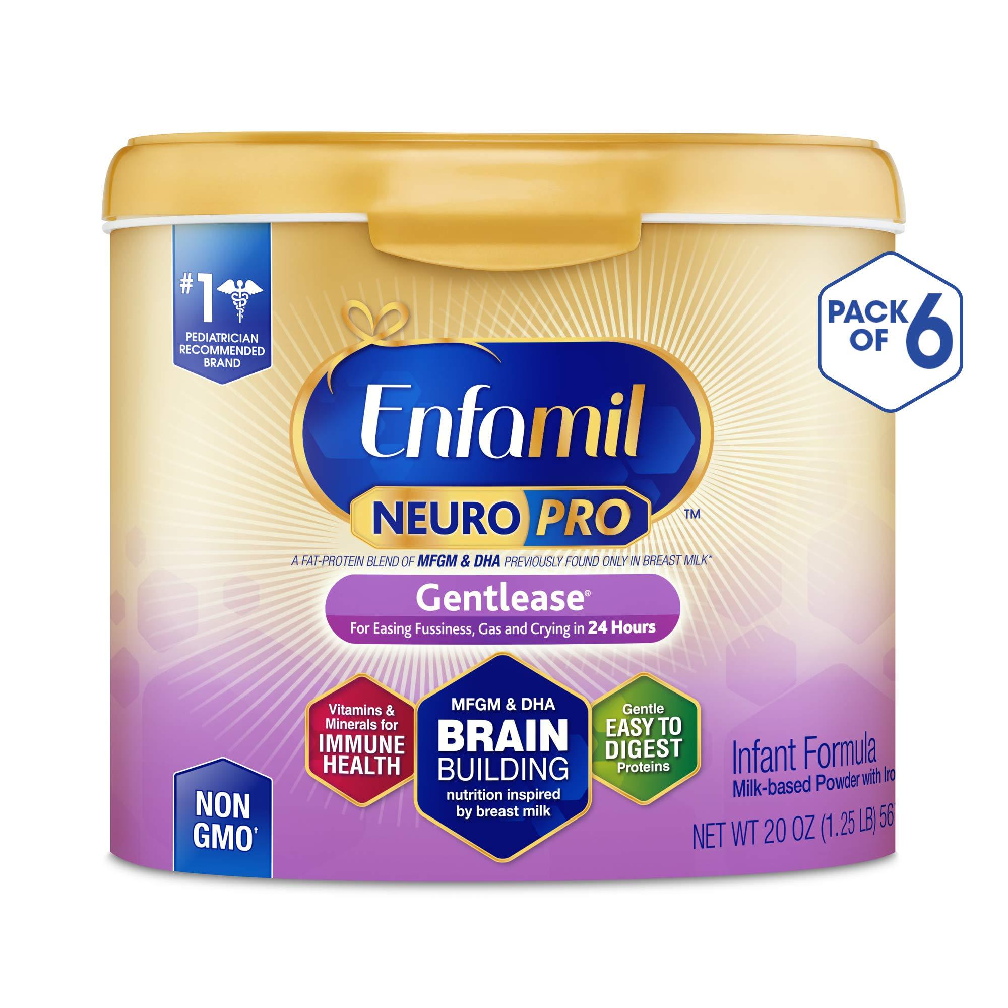 Enfamil NeuroPro Gentlease Baby Formula Milk Powder, 20 Ounce (Pack of 6), Omega 3 DHA, Probiotics, Iron