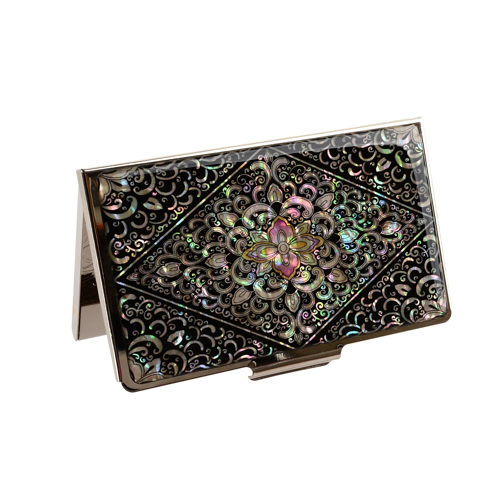 business name card holder stainless steel case Mother of Pearl Art Arabesque by MOP antique (Image #2)