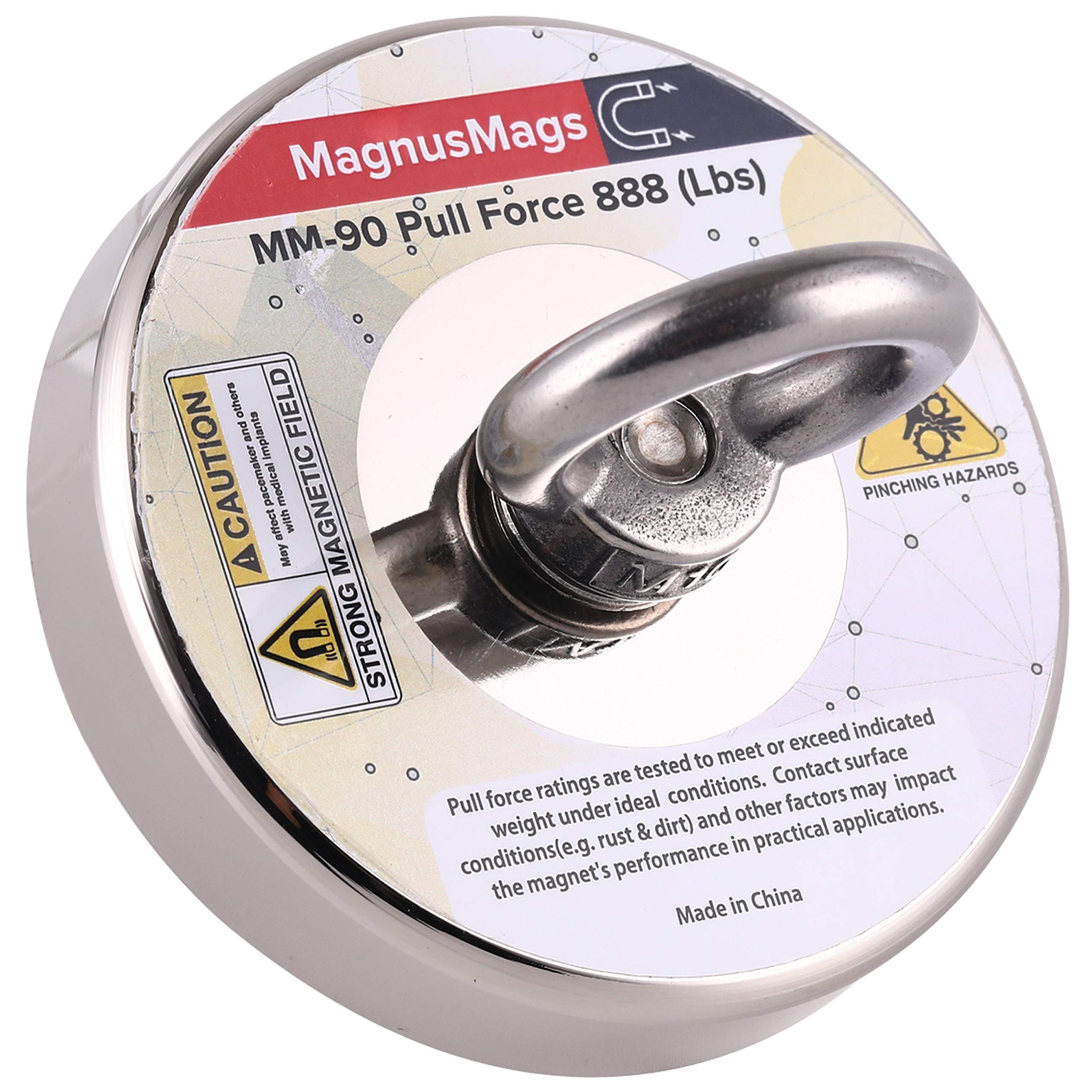 Powerful Fishing Magnets - MagnusMags 888LBS(403KG) Super Strong Pulling Force Neodymium Rare Earth Magnet for Magnetic Fishing Treasure in River - 3.54'' Diameter Heavy Duty Magnet for Magnet Fishing