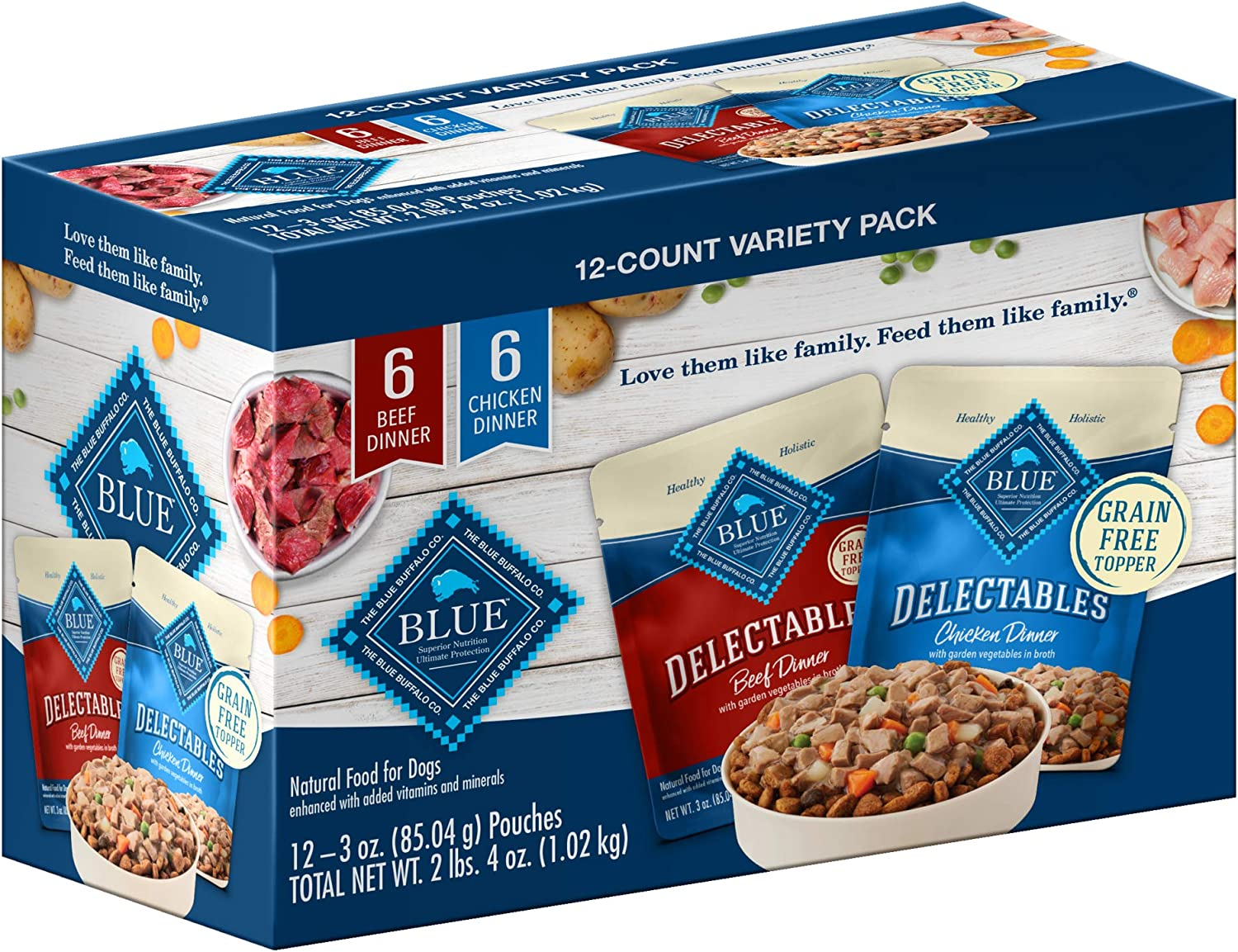 Blue Buffalo Blue Delectables Grain Free Natural Chicken Dinner & Beef Dinner Wet Dog Food Variety Pack