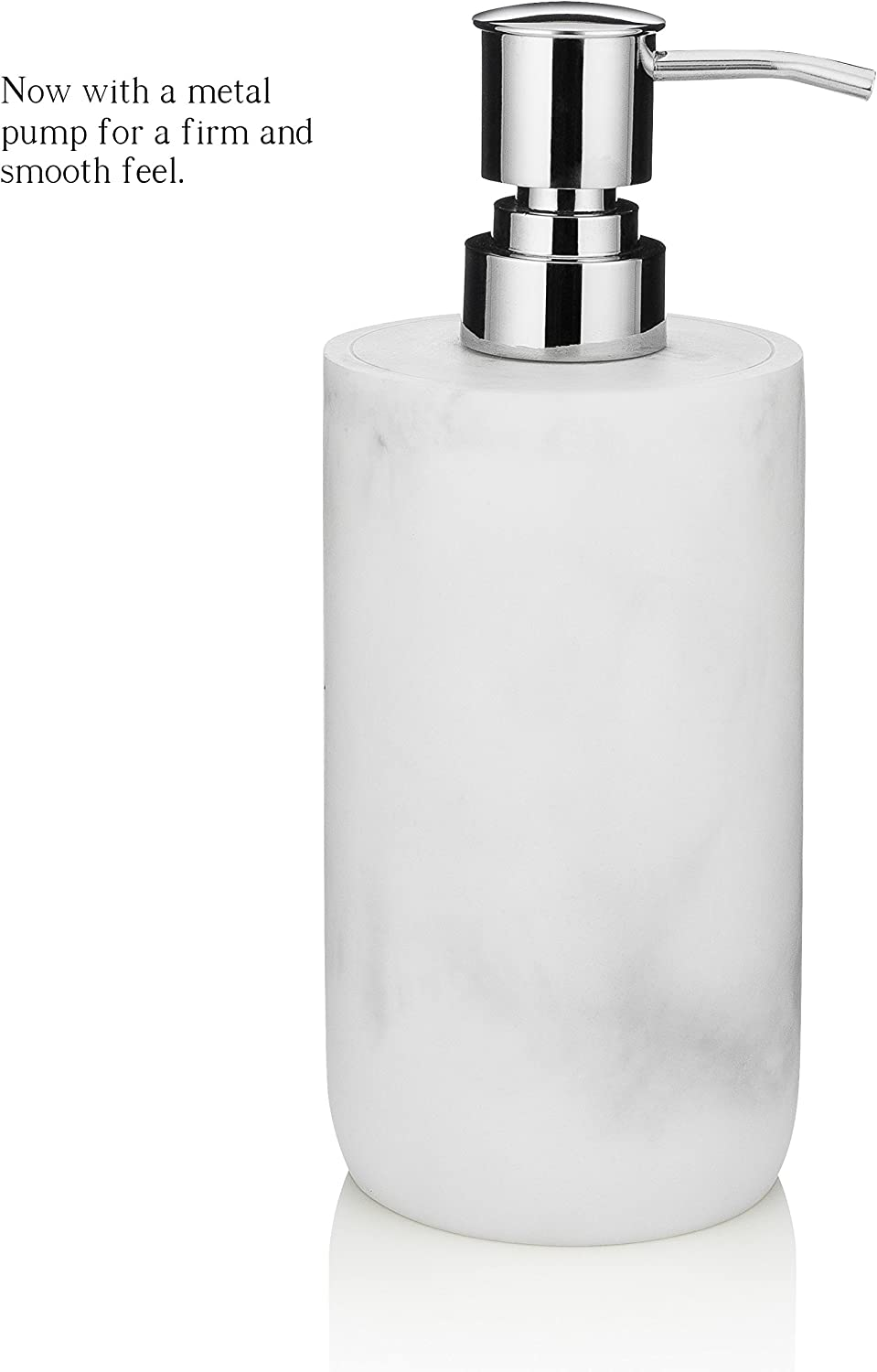 Essentra Home Blanc Collection White Liquid Soap Dispenser with Metal Pump for Bathroom, Bedroom or Kitchen. Also Great for Hand Lotion and Essential Oils.: Home & Kitchen