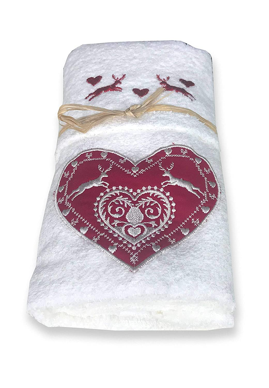 tex family Set de serviettes Tyrol tyrolien c/œur cerf Blanc
