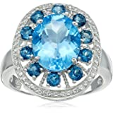 Sterling Silver Blue Topaz and Created White Sapphire Ring, Size 7