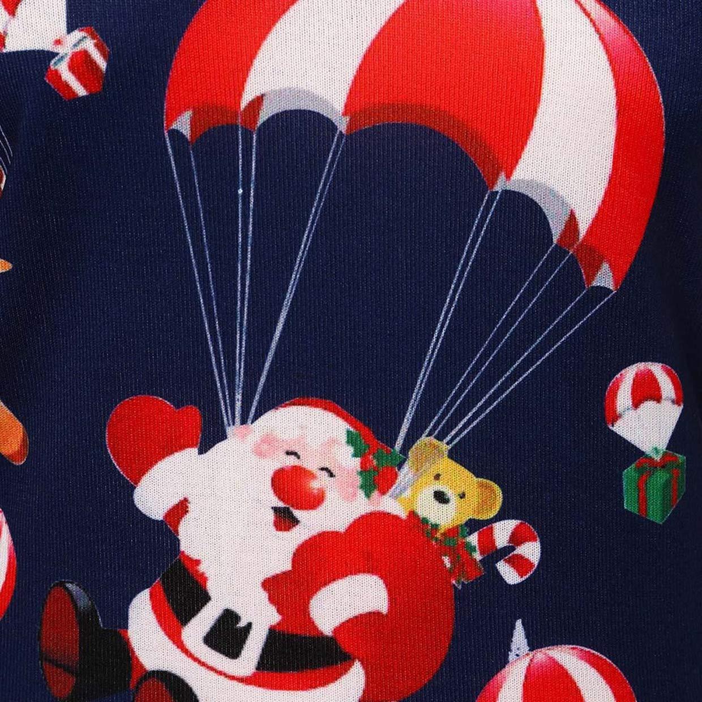 Camiseta de Mujer Navidad Invierno Rebajas, EUZeo, Papá Noel Elk Imprimir Fuera del Hombro Camiseta Casual Christmas Pullover Moda Básica Cuello Oblicuo ...