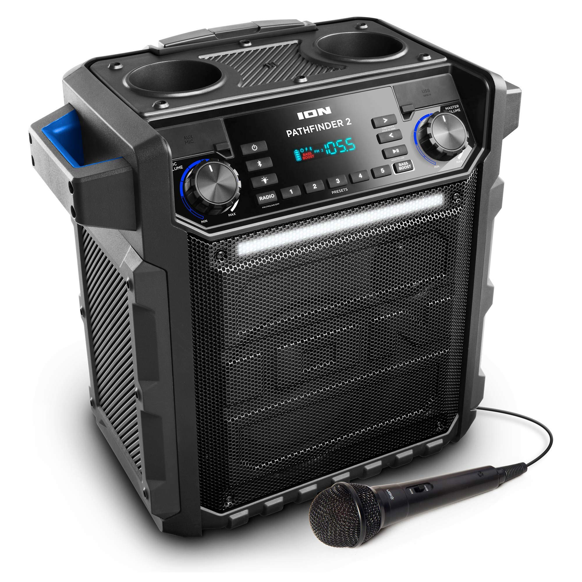 Ion Audio Pathfinder 2 High Power All-Weather Rechargeable Speaker  (Blue)(Renewed) by ION Audion